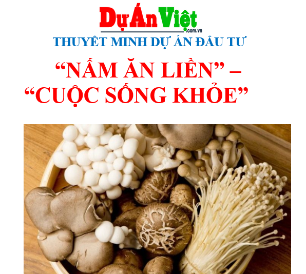 Thuyết minh dự án Nấm ăn liền tại Hà Nội